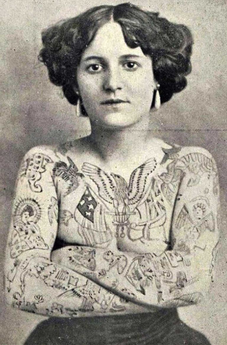 woman tattoo vintage